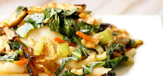 Rice Noodles with Carrots, Bok Choy and Shiitake Mushrooms