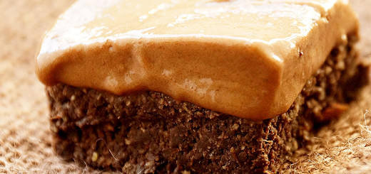 Healthy Raw Dark Chocolate Brownie with Ice Cream Topping