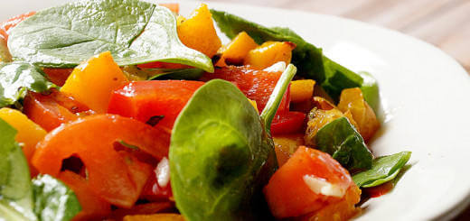 Pumpkin, Baby Spinach and Red Salad