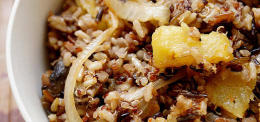 Quinoa, Wild and Brown Rice with Onions and Pineapples